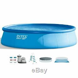 Intex 18Ft x 48In Inflatable Round Outdoor Above Ground Swimming Pool Set