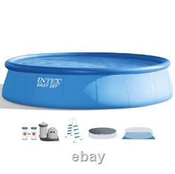 Intex 18Ft x 48In Inflatable Round Outdoor Above Ground Swimming Pool Set IN HAN