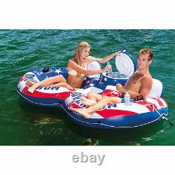 Intex 56855VM Inflatable American Flag 2 Person Pool Tube Float with Cooler