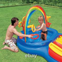 Intex 9.75ft x 6.3ft x 53in Rainbow Slide Kids Play Inflatable Pool Ring Center