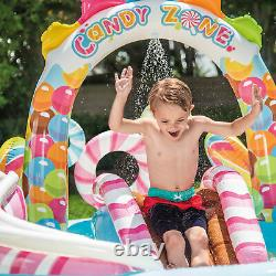 Intex 9ft x 6ft x 51in Kids Inflatable Candy Zone Play Center Pool with Waterslide