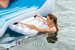 Intex Inflatable Island Pool Lake Raft Float Lounger with AC Electric Air Pump