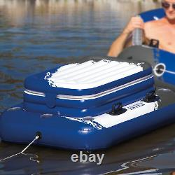 Intex Island Pool Lake Raft Lounger with Inflatable 72 Can Beverage Cooler Float