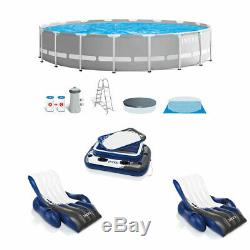 Intex Prism Above Ground Pool with Inflatable Loungers (2 Pack) and Cooler Float
