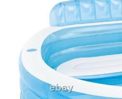 Intex Swim Center Inflatable Family Lounge Pool with Built In Bench & 8 Foot Cover