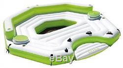 Key Largo Inflatable Party Island Float withCooler, Green Swimming Pool Float, New