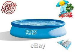 Kids Inflatable Ring Swimming Pool Above Ground Outdoor With Filter Pump 13'x33