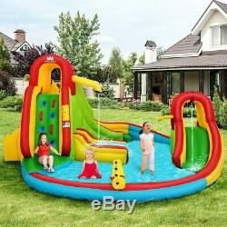 Kids Inflatable Water Slide Park with Climbing Wall and Pool Swim Play Game US