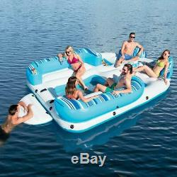 Large Inflatable Island 6 Seater Heavy Duty Pool Float Bed Sea Lounge Sun Tan