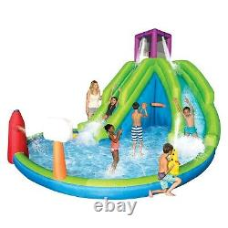 Magic Time Adventure Falls Inflatable Water Park with 2 Slides & Basketball Hoop
