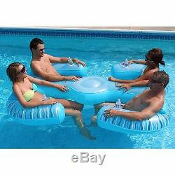 NEW 4 Person Inflatable Float Lounge Sofa Couch Lounger Raft Swimming Chair Pool