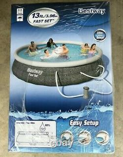 NEW BESTWAY 13' x 33 FAST SET EASY INFLATABLE POOL WITH FILTER PUMP AND FILTER