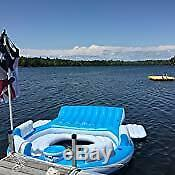 NEW Inflatable Island Raft Floating POOL PARTY 7 Person Lake Lounge Float Cooler