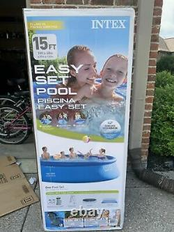 NEW-Intex 15' x 42 Inflatable Easy Set Swimming Pool with Ladder & Pump-FREE