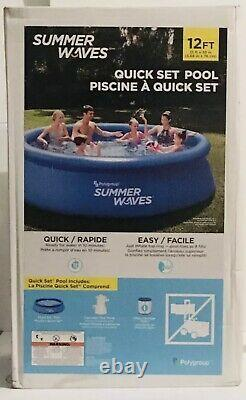 NEW Summer Waves Pool Quick Set Inflatable 12ft x 30in + Pump, Cartridge, Filter