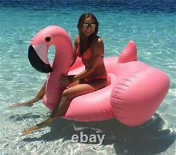 New Giant Rideable Flamingo Inflatable Swim Ring Swimming Pool Water Float Toy