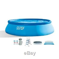 New Intex 15 ft x 42 in Easy Set Up Inflatable Above Ground Swimming Pool Set