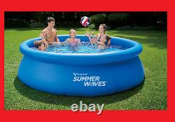 New Summer Waves 10ft x 30in Inflatable Ring Quick Set Pool With Filter Pump