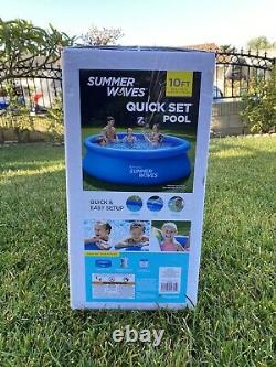 New Summer Waves 10x30 Quick Set Inflatable Swimming Pool With Filter Pump