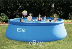SHIPS FASTIntex 15 x 48 Inflatable Easy Set Swimming Pool with Ladder & Pump