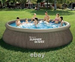 SUMMER WAVES 14 x 36 Wicker Print Quick Set Pool Inflatable Pool 14 X 36