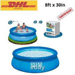 Set Easy Pool 8ft x 30in Intex Above Ground Inflatable Pump Swimming Fast Ship