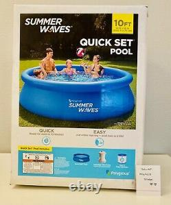 Summer Waves 10 ft x 30 in Quick Set Inflatable Ring Pool with Filter Pump