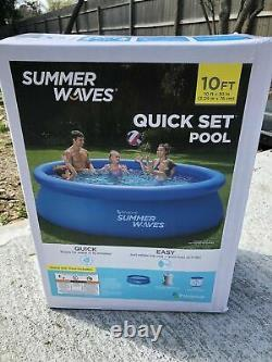 Summer Waves 10 ft x30 in Quick Set Inflatable Ring Pool with Filter Pump