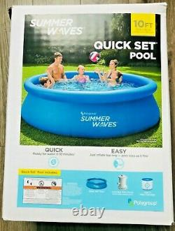 Summer Waves 10 ft x30 in Quick Set Inflatable Ring Pool with Filter Pump NEW