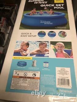 Summer Waves 10ft x 30in Inflatable Ring Quick Set Pool With Filter Pump