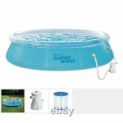 Summer Waves 12 Foot Wide Quick Set Inflatable Top Ring Pool, Clear (Open Box)