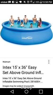 Summer Waves 15 Ft. Quick Set Inflatable Above Ground Pool with Additional Pump