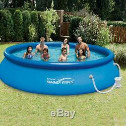 Summer Waves 15' Quick Set Inflatable Above Ground Pool + Pump + 12 Cartridges