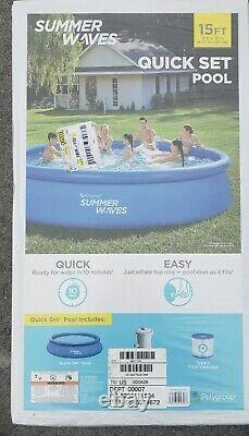 Summer Waves 15 ft x 36in Quick Set Inflatable Above Ground Swimming Pool & Pump