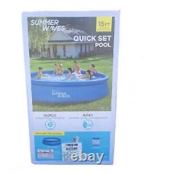 Summer Waves 15 ft x 36in Quick Set Inflatable Above Ground Swimming Pool w Pump