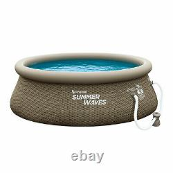 Summer Waves 8 Ft x 30 In Inflatable Outdoor Swimming Pool and Pump (Open Box)