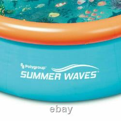 Summer Waves 8ft x 30in Small Kiddie Inflatable Kids Above Ground Swimming Pool