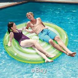 Summer Waves Elite 22 Foot Round Pool Kit + Two Inflatable Splash Island Floats