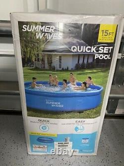 Summer Waves Quick Set Inflatable Above Ground Swimming Pool & Pump 15ft x 36in