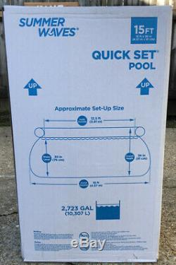 Summer Waves Quick Set Swimming Pool 15ft X 36in + Filter Pump