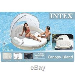 Swimming Pool Inflatable Floating Luxury Lounge Float Couch Relaxing Sun Shade