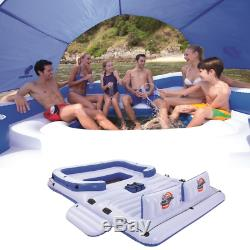 Tropical Inflatable 6-Person Floating Island Pool Lake Party Float Raft Cup Hold