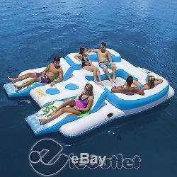 Tropical Tahiti Inflatable 6 Person Floating Island Pool Lake Party Float Raft
