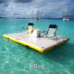 Water Inflatable Floating Island Dock Summer Family Fun Platform Beach Pool 8'FT